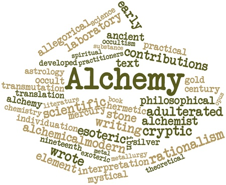Abstract word cloud for Alchemy with related tags and terms Stock Photo