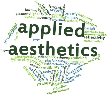 theorists: Abstract word cloud for Applied aesthetics with related tags and terms Stock Photo