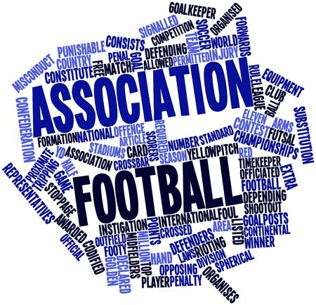 shootout: Abstract word cloud for Association football with related tags and terms Stock Photo