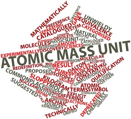 determines: Word cloud astratto per unit� di massa atomica con tag e termini correlati