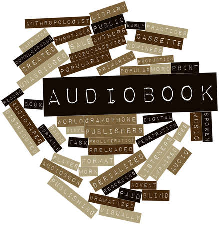 audiobook: Abstract word cloud for Audiobook with related tags and terms Stock Photo
