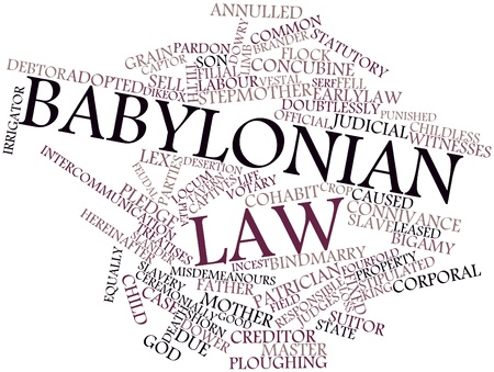 Abstract word cloud for Babylonian law with related tags and terms photo