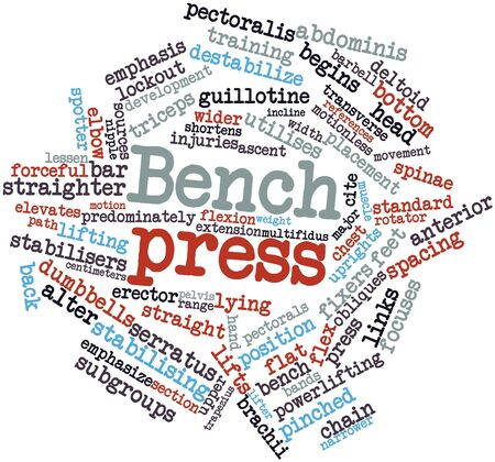 cuff link: Abstract word cloud for Bench press with related tags and terms Stock Photo