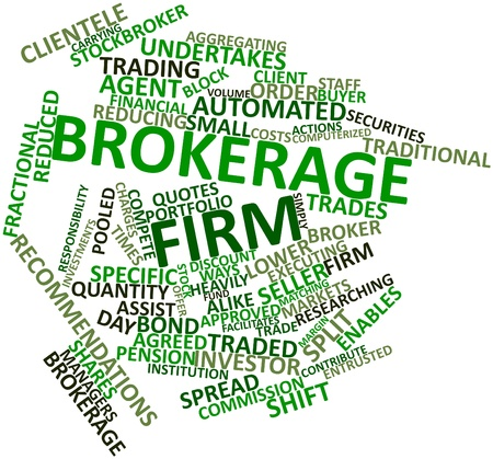pooled: Abstract word cloud for Brokerage firm with related tags and terms