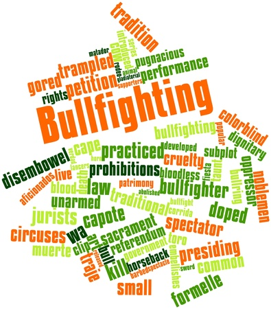 gladiatorial: Abstract word cloud for Bullfighting with related tags and terms Stock Photo