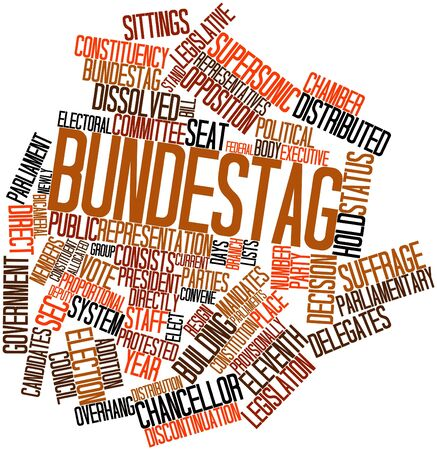 eleventh: Abstract word cloud for Bundestag with related tags and terms Stock Photo