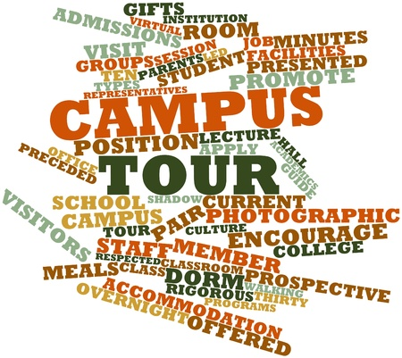 admissions: Abstract word cloud for Campus tour with related tags and terms Stock Photo