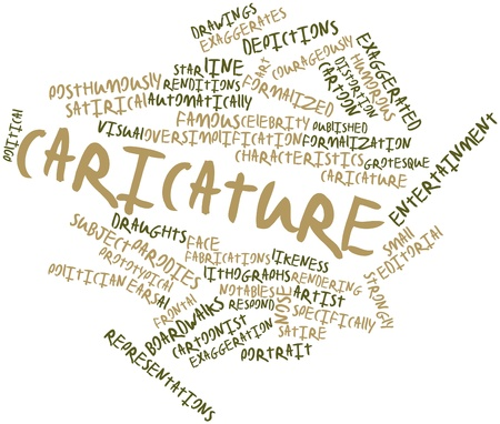 Abstract word cloud for Caricature with related tags and terms photo