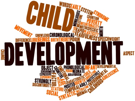 early childhood: Abstract word cloud for Child development with related tags and terms Stock Photo