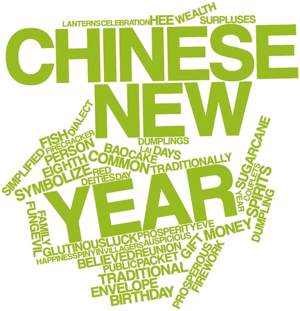 bao: Abstract word cloud for Chinese New Year with related tags and terms