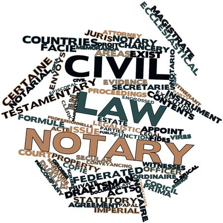 formule: Abstract word cloud for Civil law notary with related tags and terms