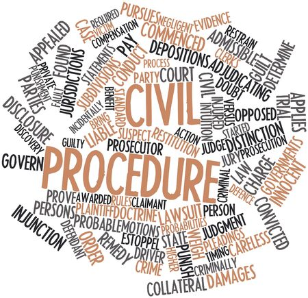 defendant: Abstract word cloud for Civil procedure with related tags and terms