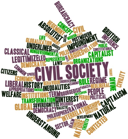 feudalism: Abstract word cloud for Civil society with related tags and terms