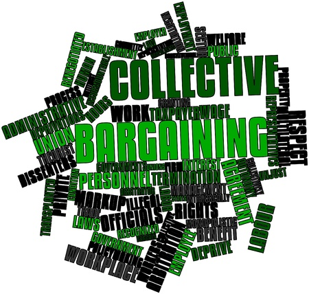 collectives: Abstract word cloud for Collective bargaining with related tags and terms Stock Photo