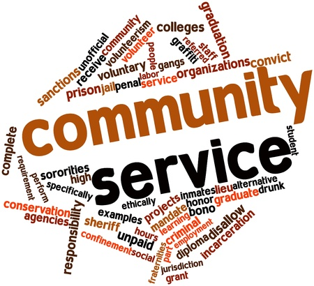 confinement: Abstract word cloud for Community service with related tags and terms