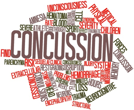 widely: Abstract word cloud for Concussion with related tags and terms Stock Photo