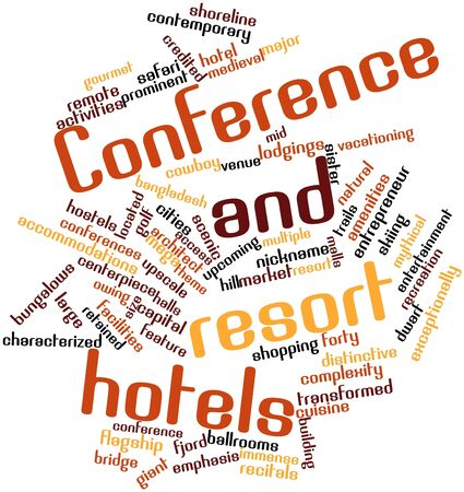 credited: Abstract word cloud for Conference and resort hotels with related tags and terms Stock Photo