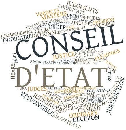 retained: Nube palabra abstracta por Consejo de Estado con las etiquetas y términos relacionados Foto de archivo