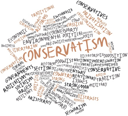 protectionism: Abstract word cloud for Conservatism with related tags and terms