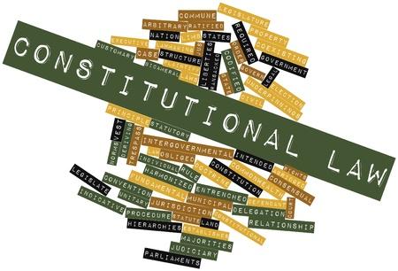 arbitrario: Nube palabra abstracta del derecho constitucional con las etiquetas y términos relacionados Foto de archivo