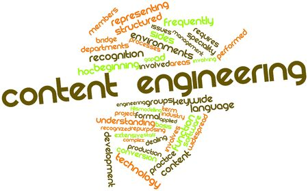 specialities: Abstract word cloud for Content Engineering with related tags and terms