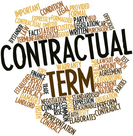 stated: Abstract word cloud for Contractual term with related tags and terms