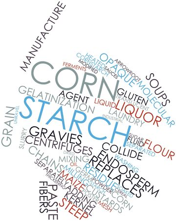 Abstract word cloud for Corn starch with related tags and terms Stock Photo