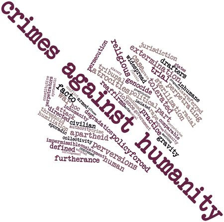 comparable: Abstract word cloud for Crimes against humanity with related tags and terms Stock Photo