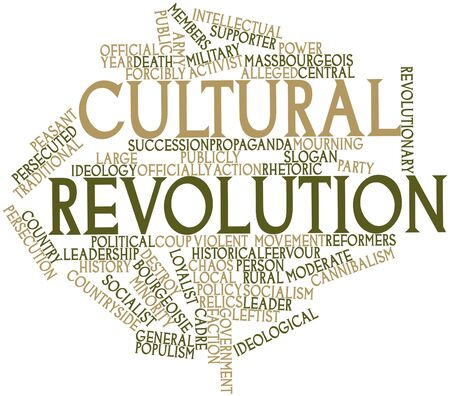 launched: Abstract word cloud for Cultural Revolution with related tags and terms Stock Photo