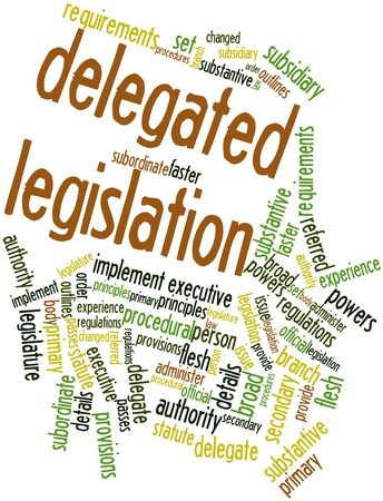 subsidiary: Abstract word cloud for Delegated legislation with related tags and terms Stock Photo