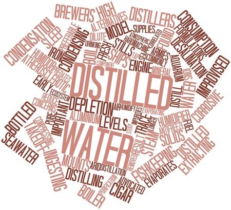 distilled water: Nube palabra abstracta para agua destilada con las etiquetas y t�rminos relacionados