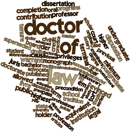 abbreviated: Abstract word cloud for Doctor of law with related tags and terms