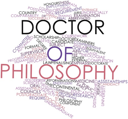 equivalent: Abstract word cloud for Doctor of Philosophy with related tags and terms Stock Photo