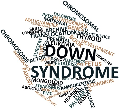 radiographic: Abstract word cloud for Down syndrome with related tags and terms
