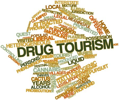 implications: Abstract word cloud for Drug tourism with related tags and terms Stock Photo