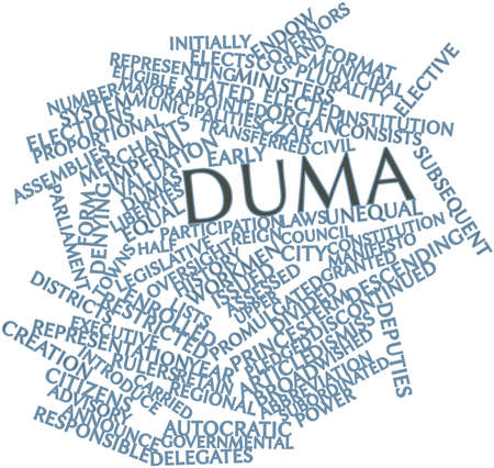 promulgated: Abstract word cloud for Duma with related tags and terms Stock Photo