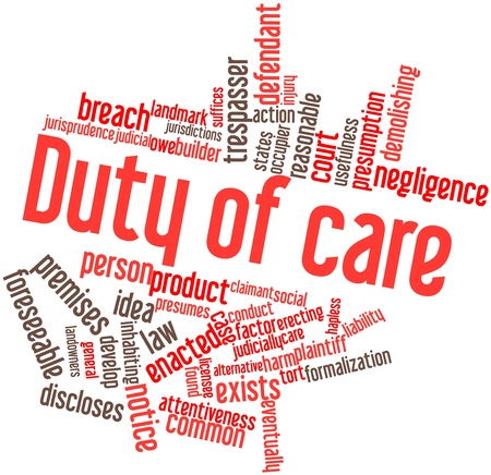 stated: Abstract word cloud for Duty of care with related tags and terms Stock Photo