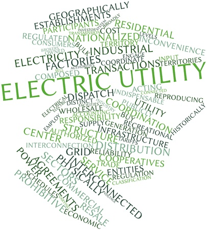 physically: Abstract word cloud for Electric utility with related tags and terms Stock Photo