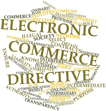 onward: Abstract word cloud for Electronic Commerce Directive with related tags and terms