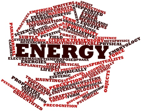 esoteric: Abstract word cloud for Energy with related tags and terms Stock Photo