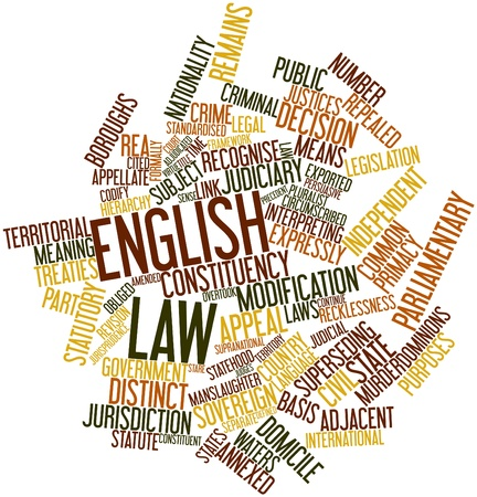 obliged: Abstract word cloud for English law with related tags and terms Stock Photo