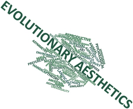 evolved: Abstract word cloud for Evolutionary aesthetics with related tags and terms Stock Photo