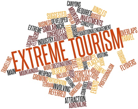 alpine zone: Abstract word cloud for Extreme tourism with related tags and terms Stock Photo