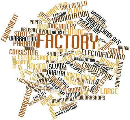turnout: Abstract word cloud for Factory with related tags and terms Stock Photo