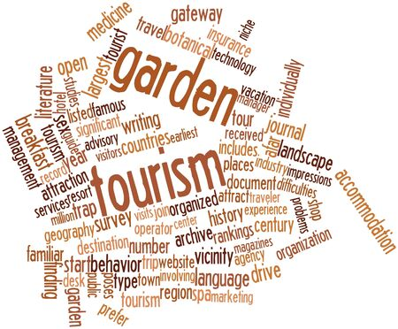 afar: Abstract word cloud for Garden tourism with related tags and terms Stock Photo