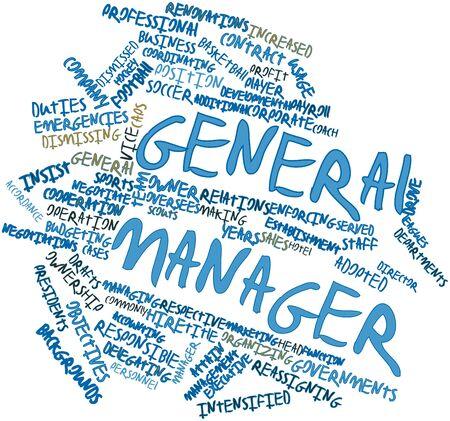 Nube palabra abstracta para gerente general con las etiquetas y términos relacionados