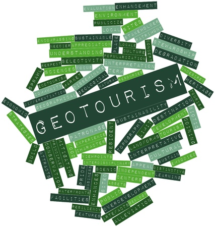 mitigating: Abstract word cloud for Geotourism with related tags and terms