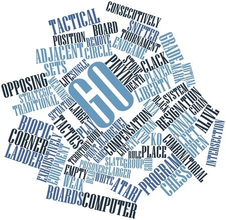 Abstrakte Wortwolke für Go mit verwandten Tags und Begriffe
