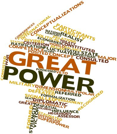 differed: Abstract word cloud for Great power with related tags and terms