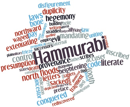 accuser: Abstract word cloud for Hammurabi with related tags and terms Stock Photo